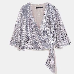 Zara Sequins Wrap Top M